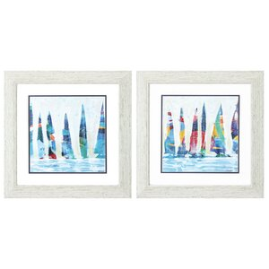 'Dozen Colorful Boats' 2 Piece Framed Painting Print Set by Longshore Tides