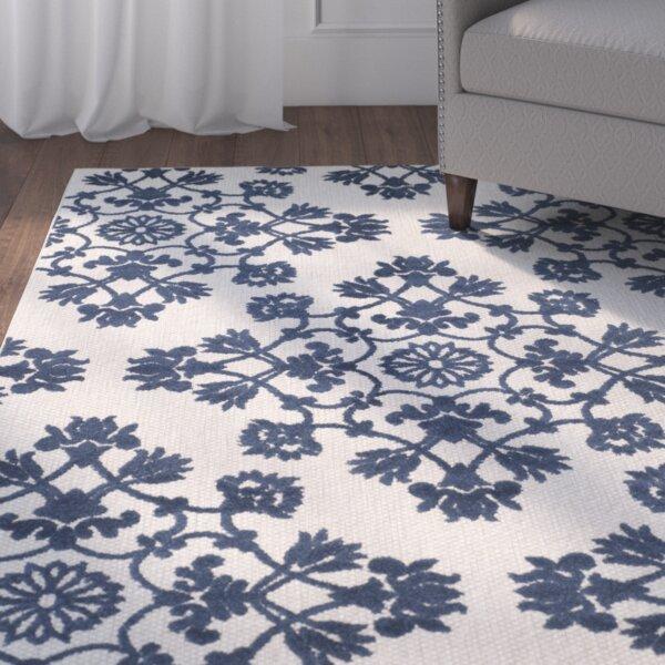 Wallick Geometric Light Gray/Royal Blue Indoor/Outdoor Area Rug
