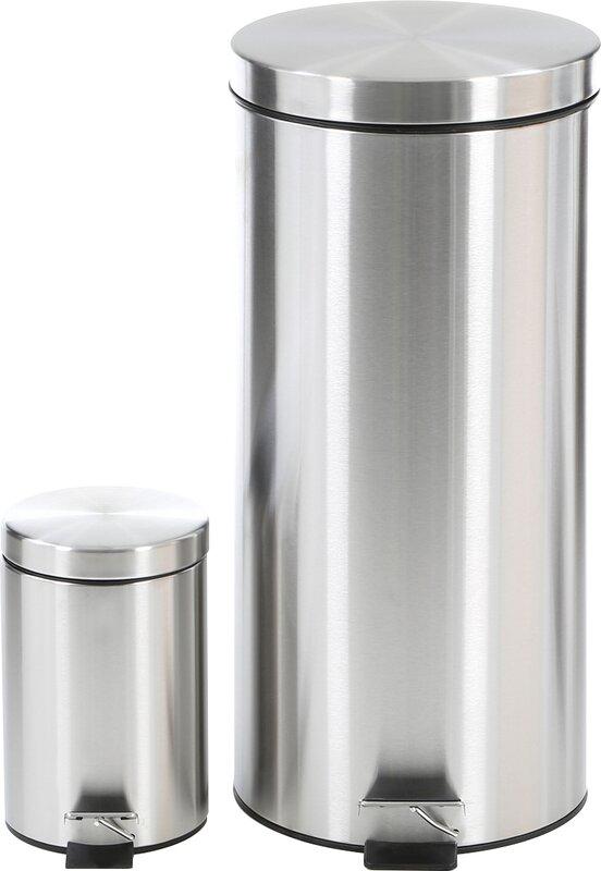 wildon home 2 piece stainless steel gallon trash can set reviews wayfair. Black Bedroom Furniture Sets. Home Design Ideas