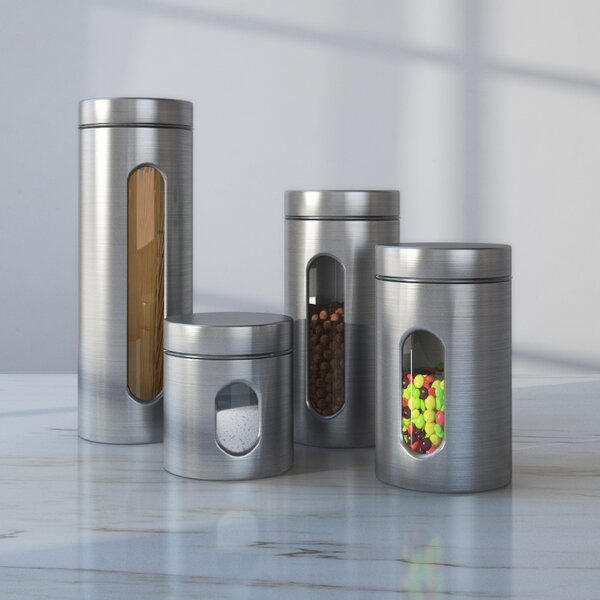 Wayfair Basics 4 Piece Stainless Steel Kitchen Canister Set by Wayfair Basics™