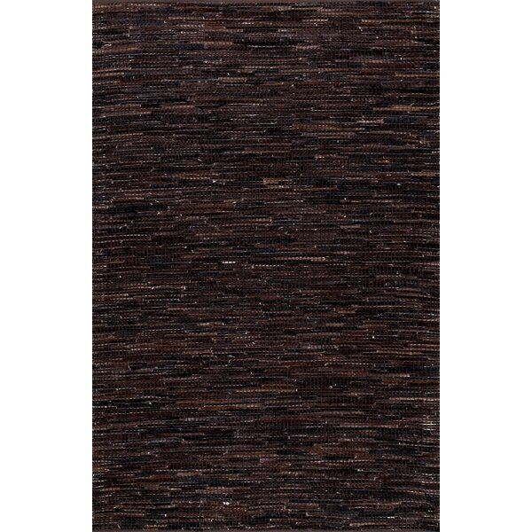 Olaughlin Hand-Woven Dark Brown Area Rug by Loon Peak