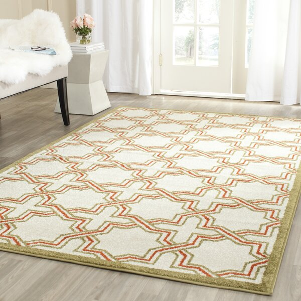 McArthur Ivory/Green Indoor/Outdoor Area Rug by Beachcrest Home