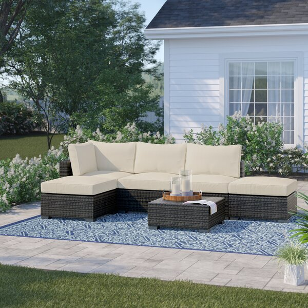 Barwick 6 Piece Sectional Seating Group with Cushions Sol 72 Outdoor W001376461