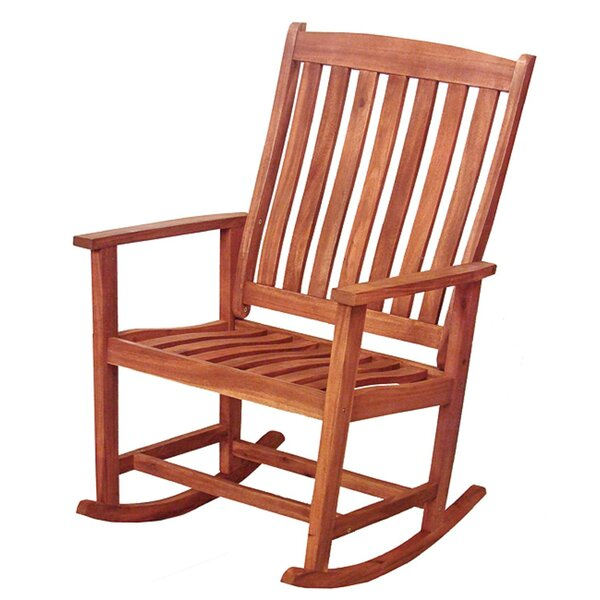 David Acacia Wood Outdoor Rocking Chair by August Grove