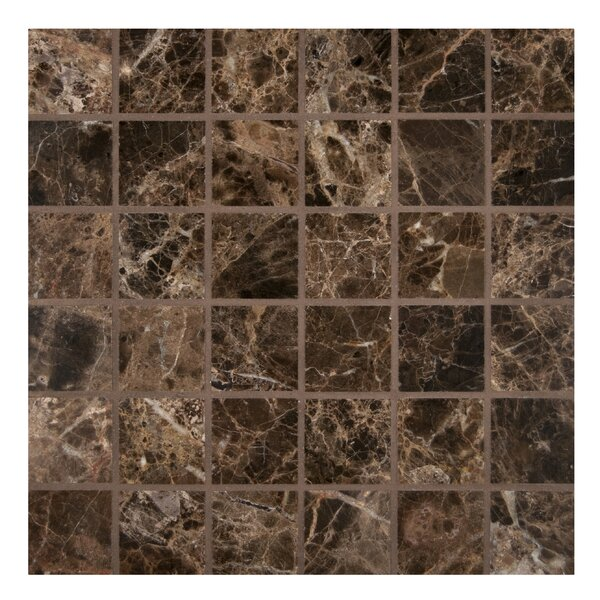 2 x 2 Marble Mosaic Tile in Polished Brown by MSI