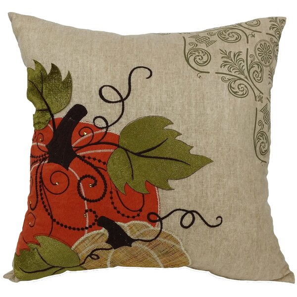 Pumpkin Embroidered with Suede Accents Throw Pillow by Xia Home Fashions