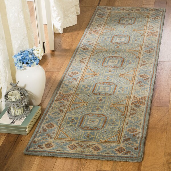 Moss Hand Tufted Wool Blue Area Rug by Bloomsbury Market