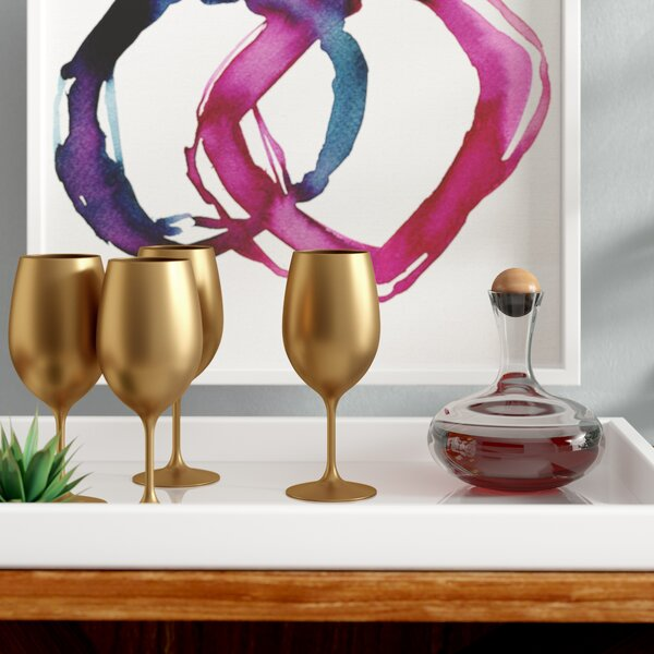 Elizabella Metallic All-Purpose Wine Glass (Set of 4) by Willa Arlo Interiors