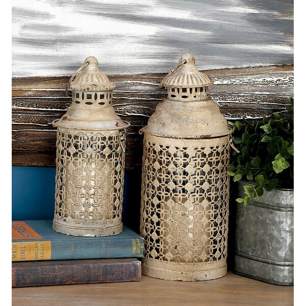 2 Piece Metal and Glass Lantern Set by Cole & Grey
