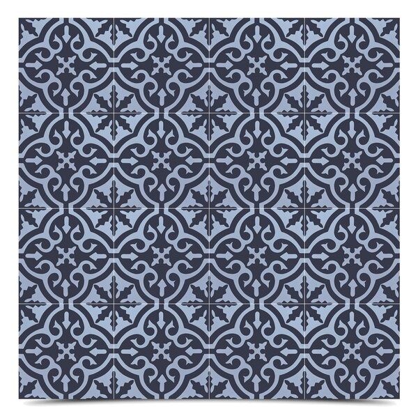 Argana 8 x 8 Cement Field Tile in Blue/Black by Moroccan Mosaic