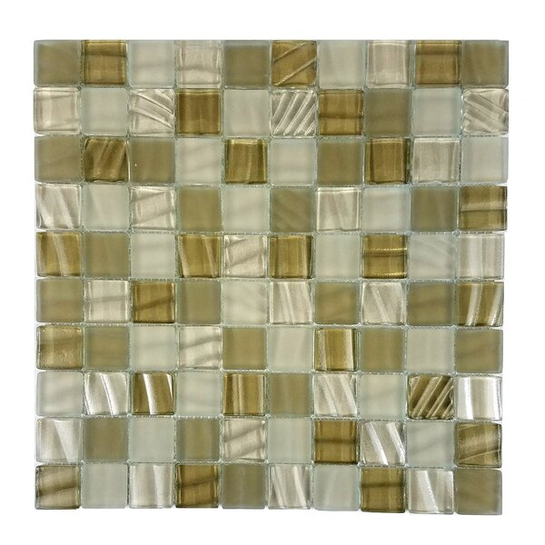 New Era 1.25 x 1.25 Glass and Slate Mosaic Tile in Glazed Sugar cane by Abolos