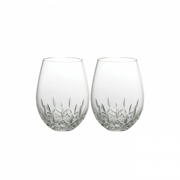 Giftology Lismore Nouveau Lead Crystal 22 oz. Stemless Red Wine Glass (Set of 2) by Waterford