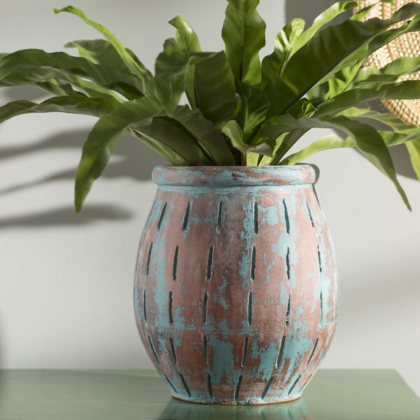 Sedona Traditional Blue Terracotta Table Vase by World Menagerie