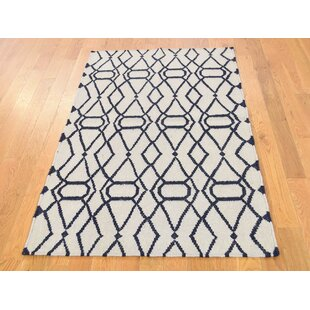 Read Reviews One-of-a-Kind Bessey Reversible Handmade Kilim 3' x 5'2 Wool Ivory/Black Area Rug By Isabelline