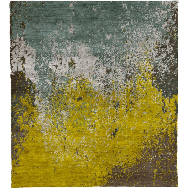 One-of-a-Kind Jovanni Hand-Knotted Traditional Style Yellow/Green 5' x 8' Wool Area Rug