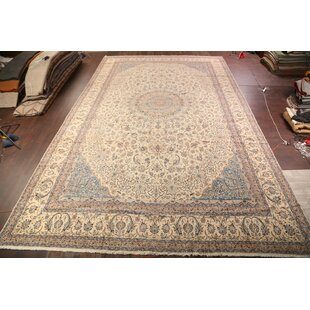 Demby Traditional Nain Isfahan Persian Hand-Knotted BeigeBlue IndoorOutdoor Area Rug