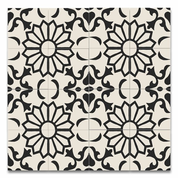Taj 8 x 8 Handmade Cement Tile in Black and White by Moroccan Mosaic