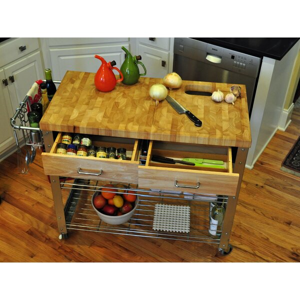 Thielsen Kitchen Cart Solid Wood by Loon Peak