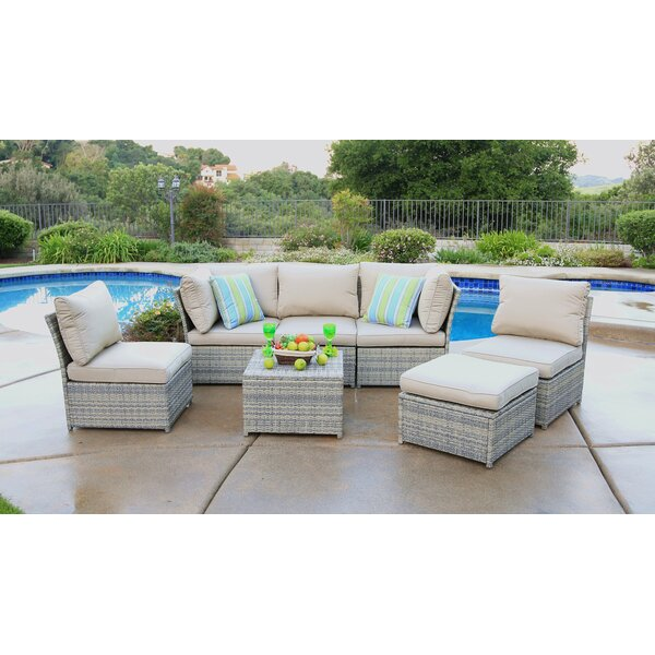 Quincy 7 Piece Sectional Seating Group with Cushions by Rosecliff Heights