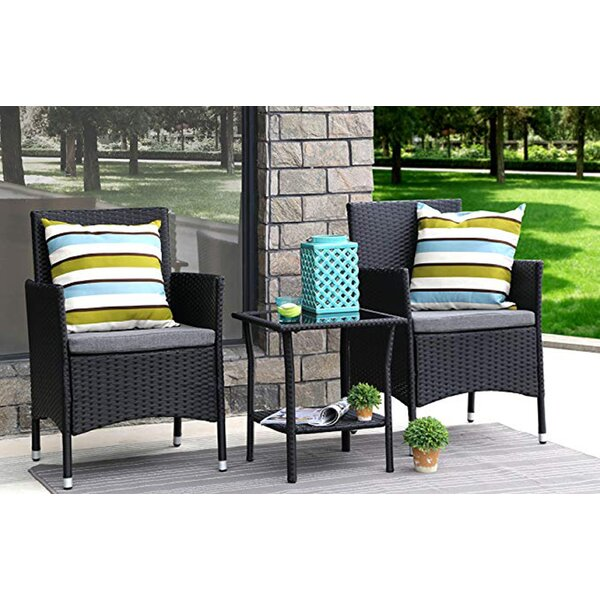 Giovanna 3 Piece Rattan Seating Group by Charlton Home