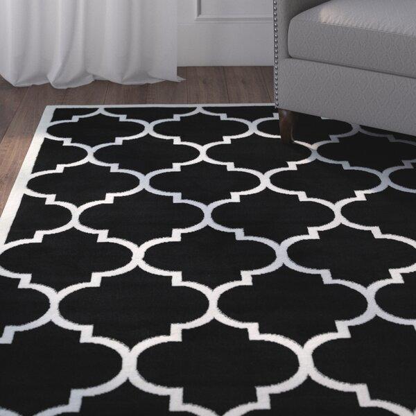 Standridge Moroccan Trellis Design Black/White Area Rug by Charlton Home