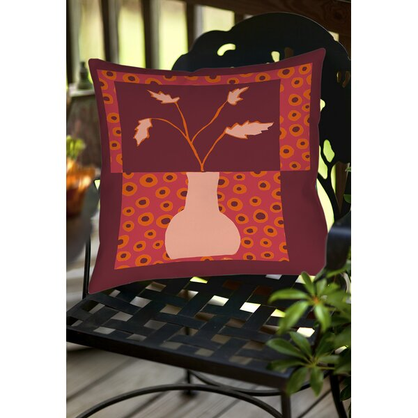 Minimalist Flowers 2 Indoor/Outdoor Throw Pillow by Manual Woodworkers & Weavers