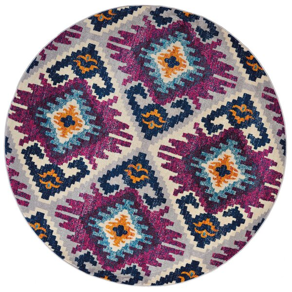 Dietz Purple/Yellow Area Rug by Bungalow Rose