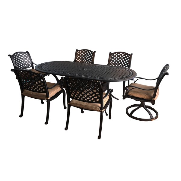 Taya 7 Piece Dining Set with Cushions by August Grove