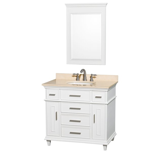 Berkeley 36 Single White Bathroom Vanity Set with Mirror by Wyndham Collection