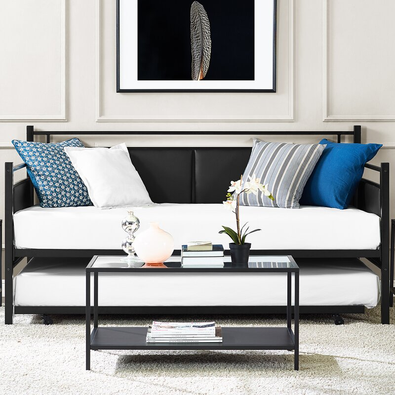 Upholstered Daybed wade logan petaluma metal and upholstered daybed with trundle