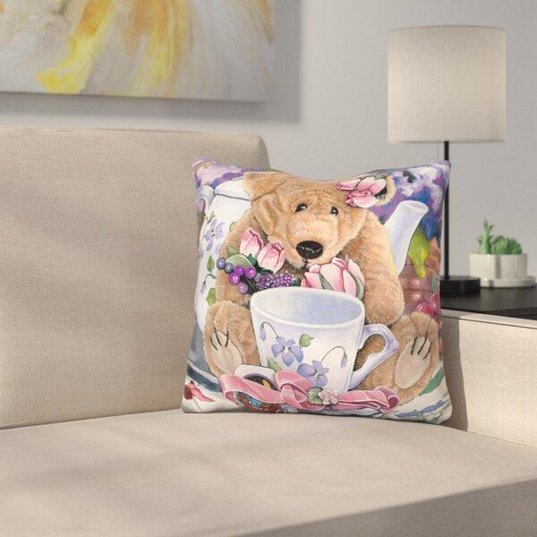 Tea Party Bear Throw Pillow by East Urban Home