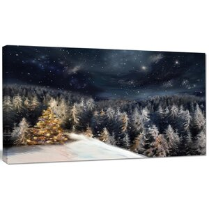 'Night Forest Christmas Tree' Graphic Art on Wrapped Canvas by Design Art