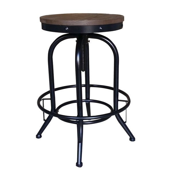Mcateer Adjustable Height Swivel Bar Stool (Set of 2) by Williston Forge
