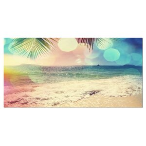 Colorful Serenity Tropical Beach Large Seashore Graphic Art on Wrapped Canvas by Design Art