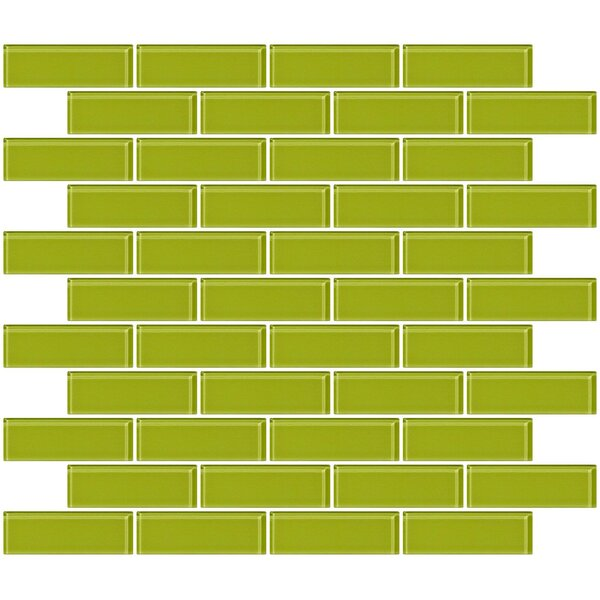 1 x 3 Glass Subway Tile in Glossy Lime Green by Susan Jablon