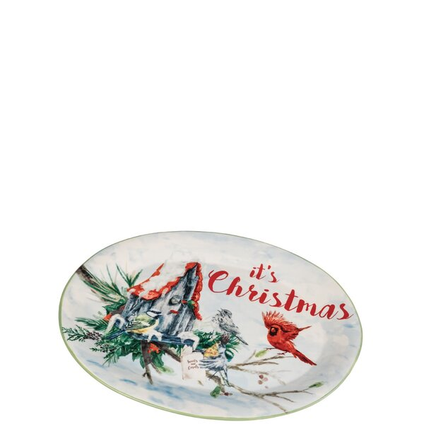 Keira Merry Christmas Feathered Friends Platter by The Holiday Aisle