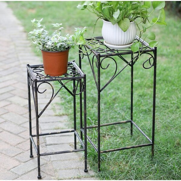 Celtic Clover Square Cast-Iron Plant Stand Set (Set of 2) by ORE Furniture