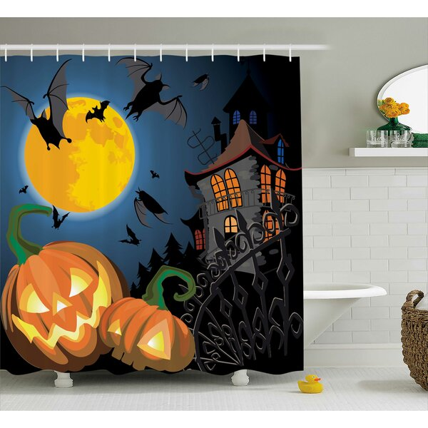 Halloween Decor Moon Pumpkin Shower Curtain by The Holiday Aisle