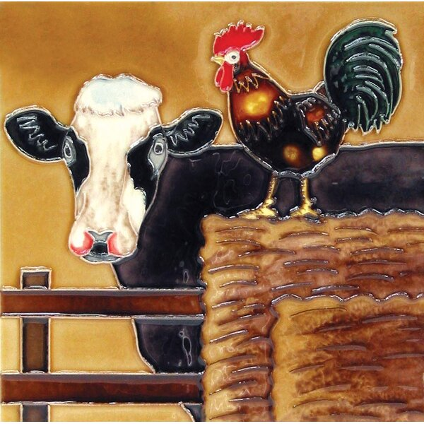 A Cow and A Rooster Tile Wall Decor by Continental Art Center