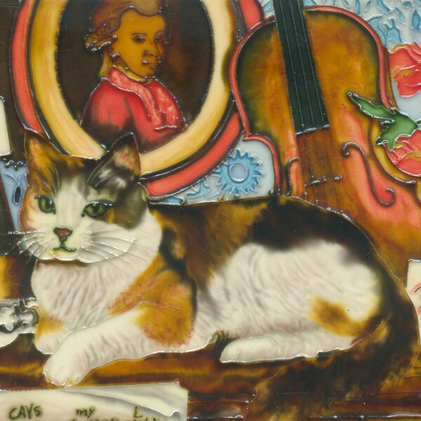 Cat with Violin Tile Wall Decor by Continental Art Center