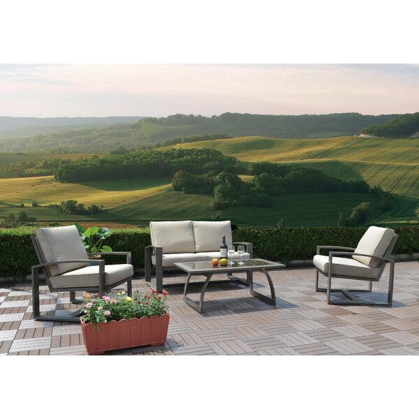 Nicholson 4 Piece Seating Set with Cushions by Latitude Run