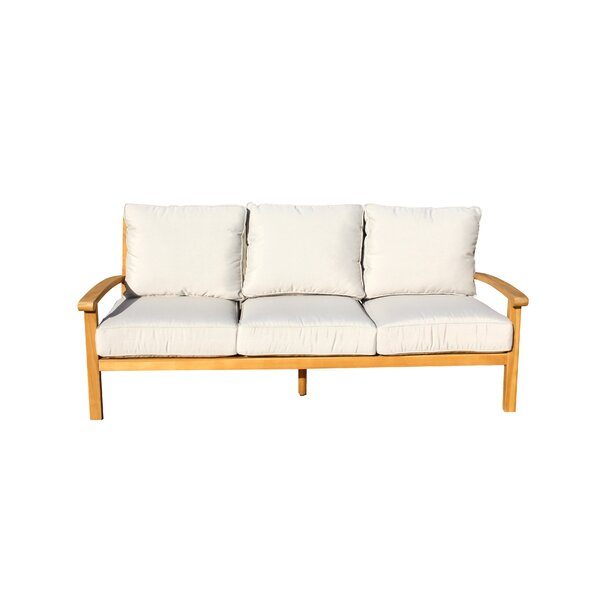Chancy Courtyard Teak Patio Sofa with Cushions by Rosecliff Heights