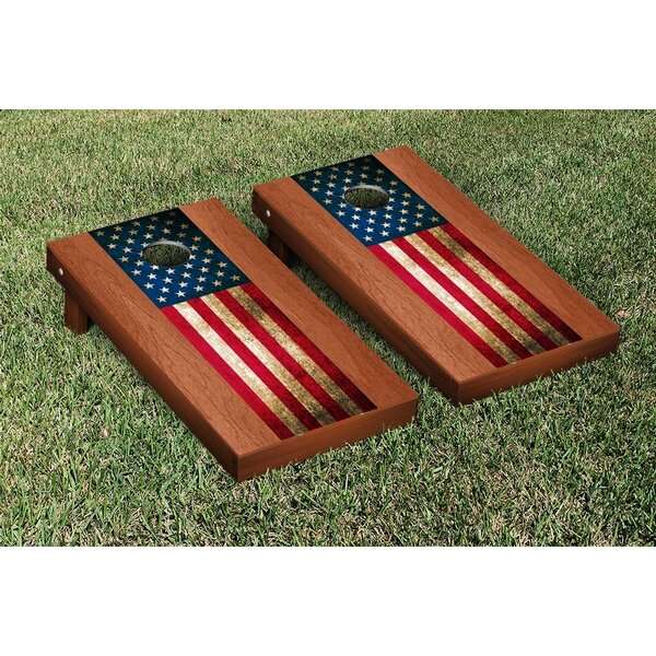 US Vintage Flag Rosewood Stained Stripe Version Cornhole Game Set by Victory Tailgate