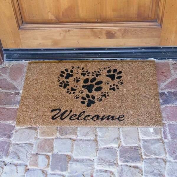 Hannah Heart-Shaped Paws Welcome Doormat by Three Posts