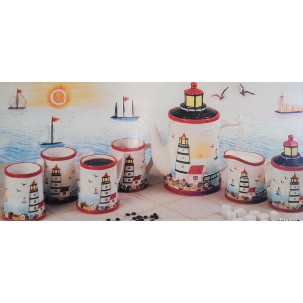 Light House 9 Piece Ceramic Tea Set by ABC Home Collection
