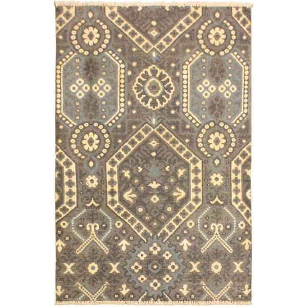One-of-a-Kind Aahil Hand Knotted Wool Gray/Ivory Area Rug by Isabelline