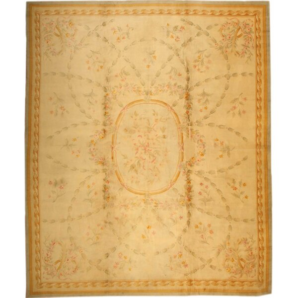 One-of-a-Kind French Hand-Knotted Before 1900 European Cream 14' x 17' Wool Area Rug
