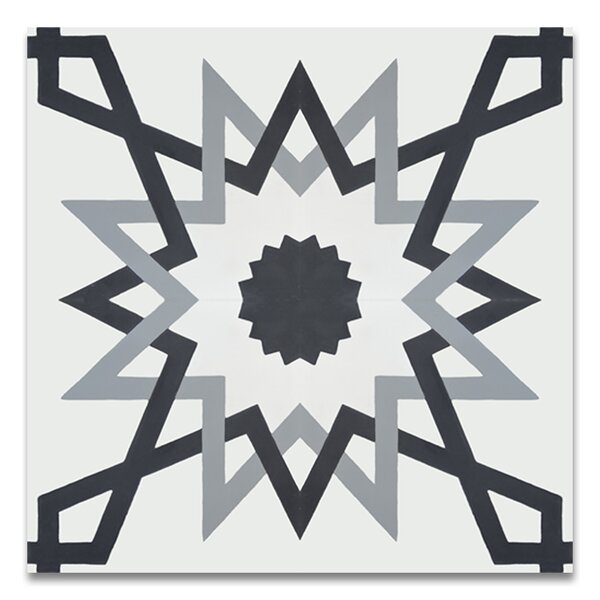 Merzouga 8 x 8 Cement Tile in Glossy Black/Gray by Moroccan Mosaic
