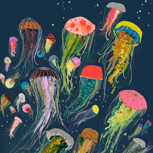 'Floating Jellyfish Indigo' by Eli Halpin Painting Print on Wrapped Canvas by GreenBox Art