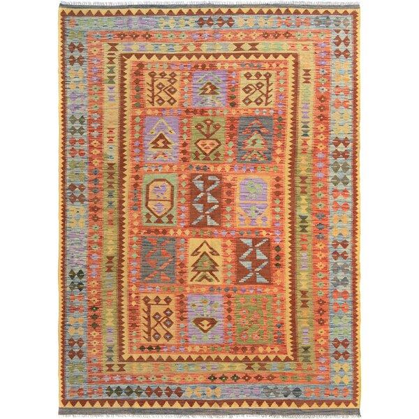 Rosalina Handmade-Kilim Wool Red/Blue Oriental Area Rug by Bloomsbury Market